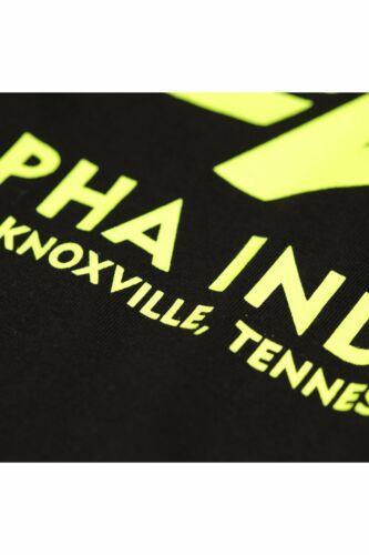 Mens Crew Neck T-Shirt ALPHA INDUSTRIES Basic Neon Logo T-ShirtBlack//Yellow