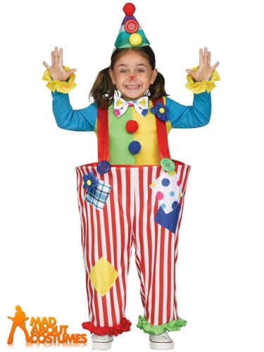 Kids Crazy Clown Costume Hooped Child Boys Girls Circus Fancy Dress Outfit