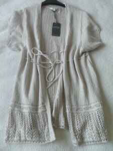 EX FAT FACE NATURAL IVORY CONTRAST FINE KNIT DRAWSTRING BELT KIMONO CARDIGAN  12