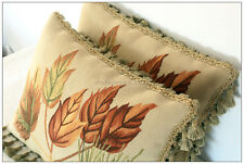 A PAIR! 18x14 【NATURE DECOR】 Aubusson Pillow WOOL French Chair Bed Cushion Cover