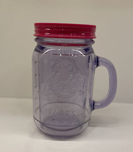 PINK ALADDIN PLASTIC MASON INSULATED JAR TUMBLER 16 OZ WITH LID (no Straw). Used