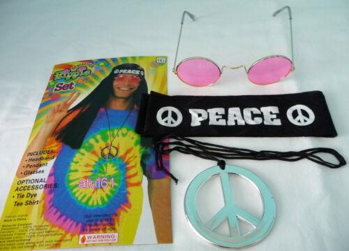 Hippie hippy années 60 70 ronde caractéristiques déguisements parti jeu de la paix John Lennon kit nouveau