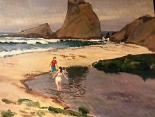 Painting By Justin Faivre Early Calif. Art Oil / Board Seascape