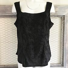 90s Black Velvet Tank Top 2XL XXL VTG Shirt Solid Grunge