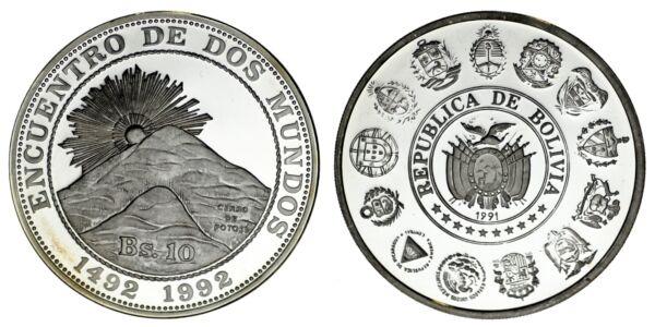 10 Argent Boliviens / Argent Serie Iberoamericana. Bolivie 1991. Certifié