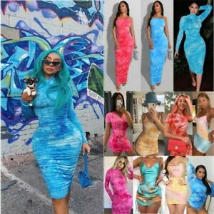 UK-Womens-Summer-Party-Tie-Dye-Bodycon-Dress-Ladies-Holiday-Casual-Mini-Sundress