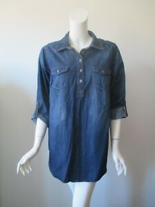 99c77b47ca8 Liz Lange Maternity Blue Chambray Denim Tap or Long Sleeve Tunic ...