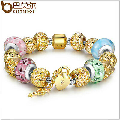 DIY Gold Plated Charms European Bracelet For Women With Multicolor Murano Beads