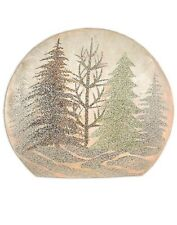 """Brown /& Gold Trees Stony Creek Frosted Glass 5/"""" Lighted Vase"""