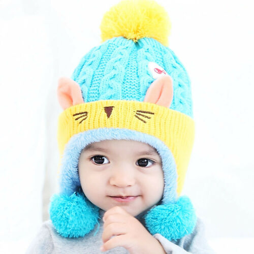 Winter Toddler Girls Knitted Hat Kids Warm Cute Thick Beanie Pompom Skullies Cap