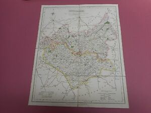 100% ORIGINAL LEICESTERSHIRE FOLDING MAP ON LINEN BY J WALKER C1835