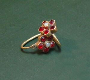 Details zu Antike Biedermeier 585er Blüten GOLD OHRRINGE m. roten STEINEN u. Perle ~1880 •