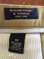 "Roundtree & Yorke Easy Care Men's Shorts 42 Inseam 9"" Beige Cotton"