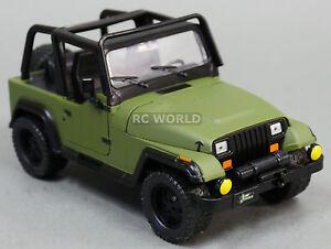 1 24 Diecast 1990 S Jeep Wrangler Rubicon Model Truck Army Green Ebay