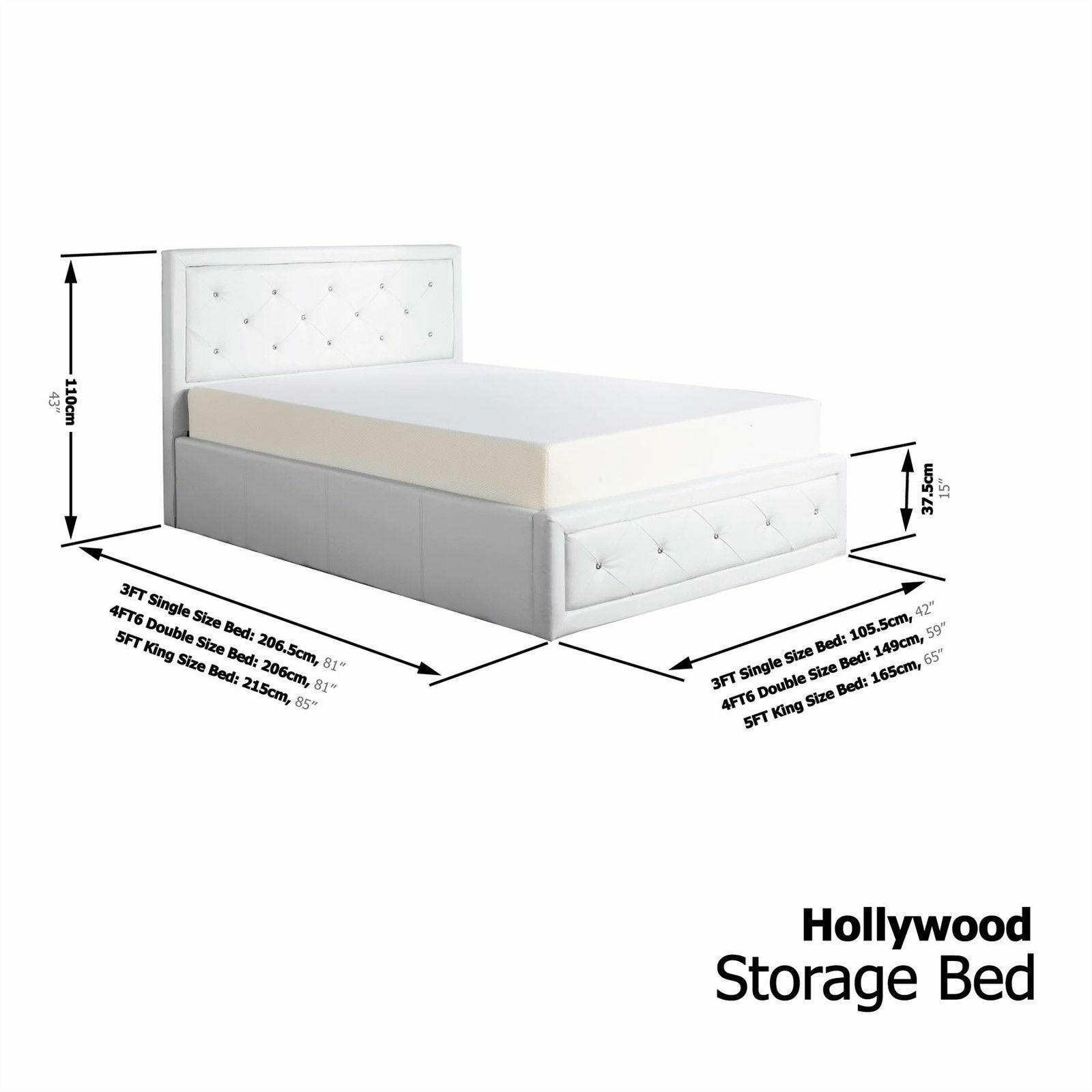 Hollywood 5ft Kingsize Ottoman Faux Leather Bedstead Bedframe White ...