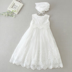 0ef78afaec659 Details about Floral Tutu Lace Christening Dress New Born Baby Baptism  Birthday Gown Bonnet