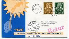 1963 SaS Flight Honningsvag Oslo North Cape Norge Polar Antarctic Cover
