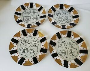 4-Kay-Young-Signed-Art-Glass-abstract-MCM-Plates-Hand-Painted-dessert-Plates