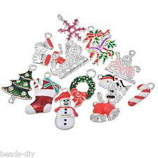 20PCS BD Mixed Silver Plated Enamel Christmas Charms Pendants