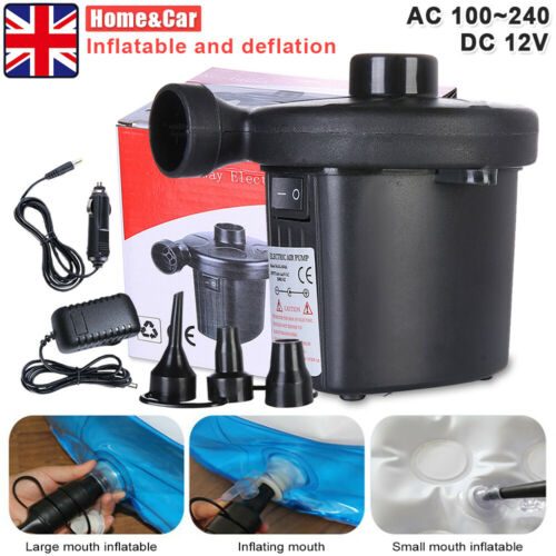 Fast Electric Mains Plug Air Pump Inflator Airbed Bed Paddling Swimming Pool