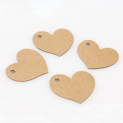 50× Heart Shape Side Hole Paper Craft Price Hang Tag Label Cards Party Decor DIY