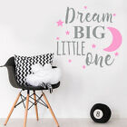 Dream Big Little One Quote Baby Girl Pink Nursery Bedroom Wall Sticker Decor