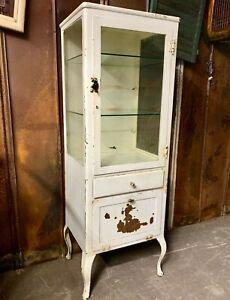 Antique Medical Dental Cabinet Vintage Metal Wavy Glass Shelves Cabriole Legs Ebay