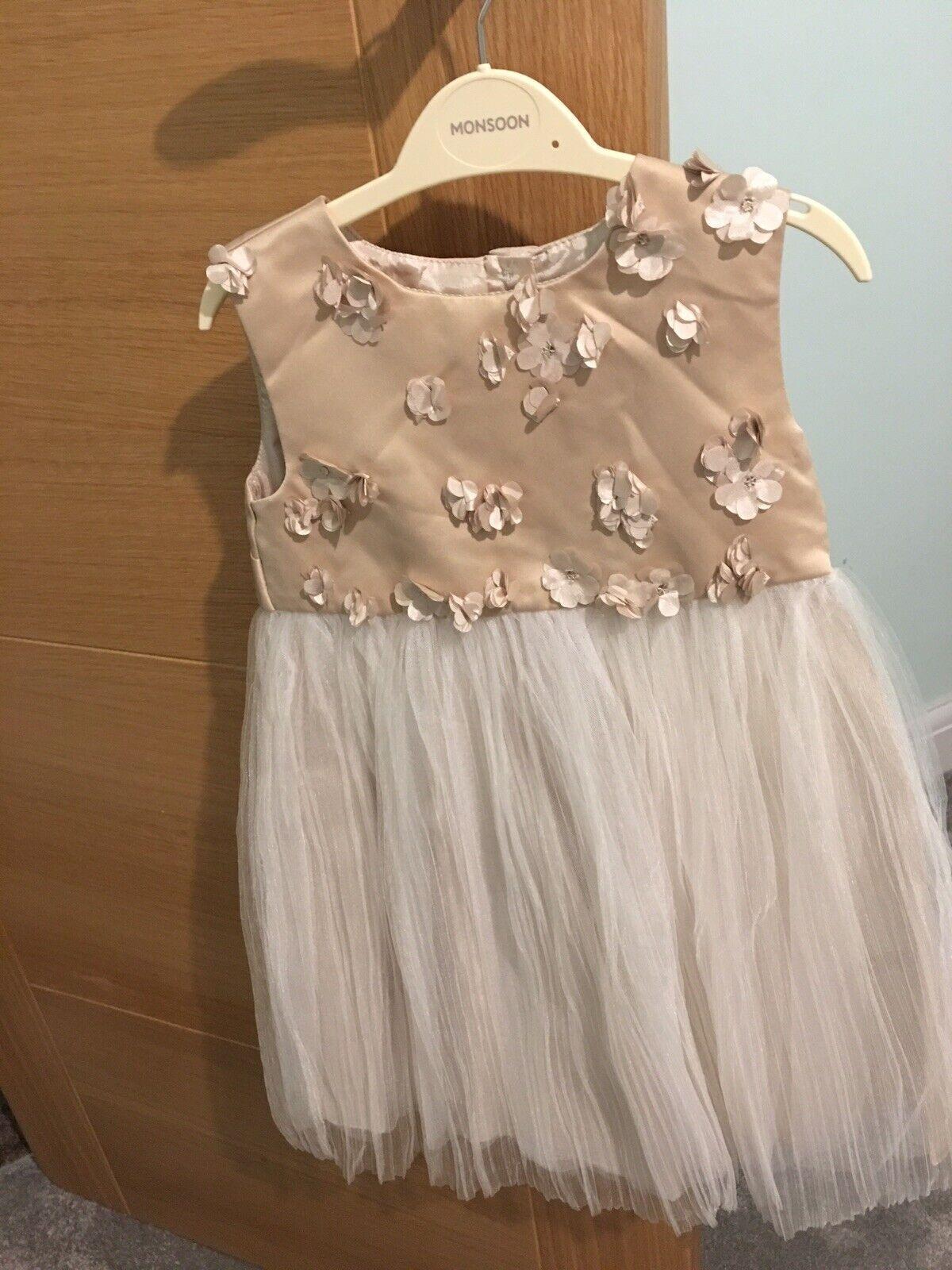 **Brand New** Monsoon Girls Bridesmaid Flowergirl Dress Age 2-3 Gold White