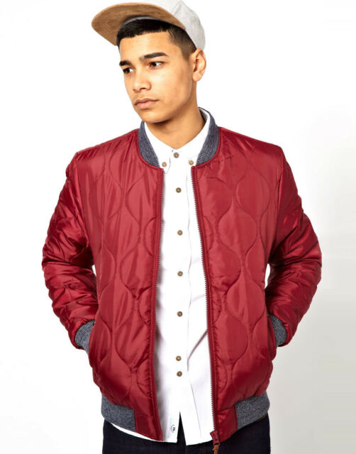 BELLFIELD BNWT Mens Quilted Bomber Jacket + Ribbed Detail - Burgundy Red - S-L