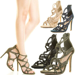 16dcb9df844 Womens Open Toe Stiletto Heel Knot Rope Braid Strappy Cage Gladiator ...