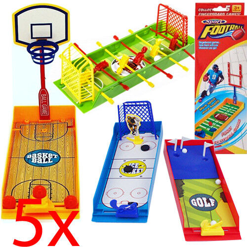 SET OF 5 FINGERBOARD GAMES DESKTOP KIDS XMAS TOY FOOSBALL BASKETBALL OFFICE FUN