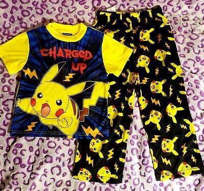 Pokemon Pikachu boys girls Pyjamas tshirt top t-shirt pants sleepwear pajamas