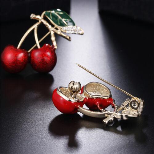 Rouge émail cerise métal broche broches bouton cristal broches pull clip bijo~PL