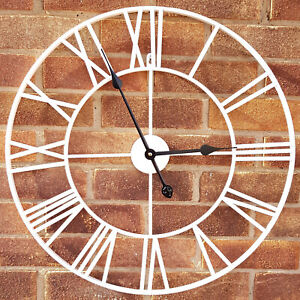 LARGE-OUTDOOR-GARDEN-WALL-CLOCK-BIG-ROMAN-NUMERALS-GIANT-OPEN-FACE-METAL-60-cm