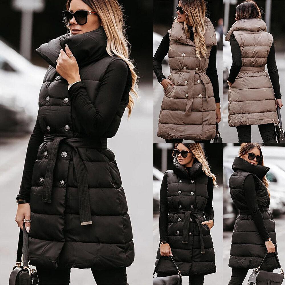 UK Womens Padded Quilted Gilet Vest Jacket Long Waistcoat Body Warmer Outwear