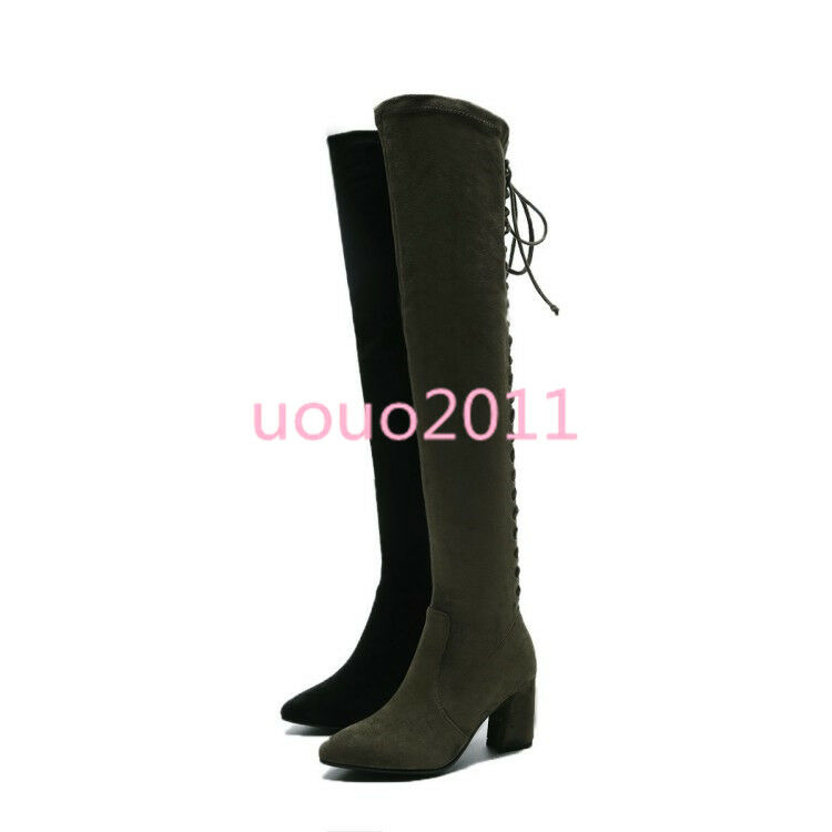 Women Suede Suede Suede Lace Up Back Pointy Toe Over The Knee Thigh High Boots Fashion shoes 4c3151