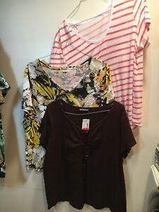 Lot-of-3-Women-039-s-Short-Sleeve-T-Shirts-Style-Tops-Size-1X-amp-2X