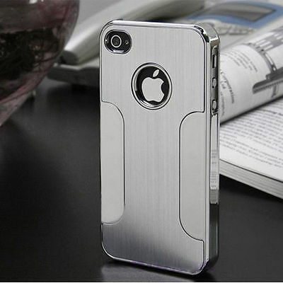 BRUSHED ALUMINIUM BACK CASE COVER FITS IPHONE 4 4S 5 5S FREE SCREEN PROTECTOR