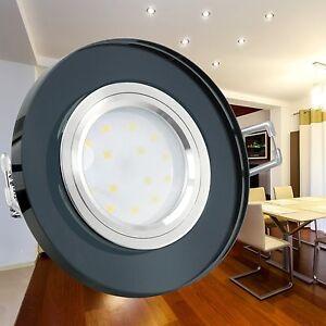 glas einbaustrahler flach rund schwarz led modul 5w neutralwei 230v dimmbar ebay. Black Bedroom Furniture Sets. Home Design Ideas