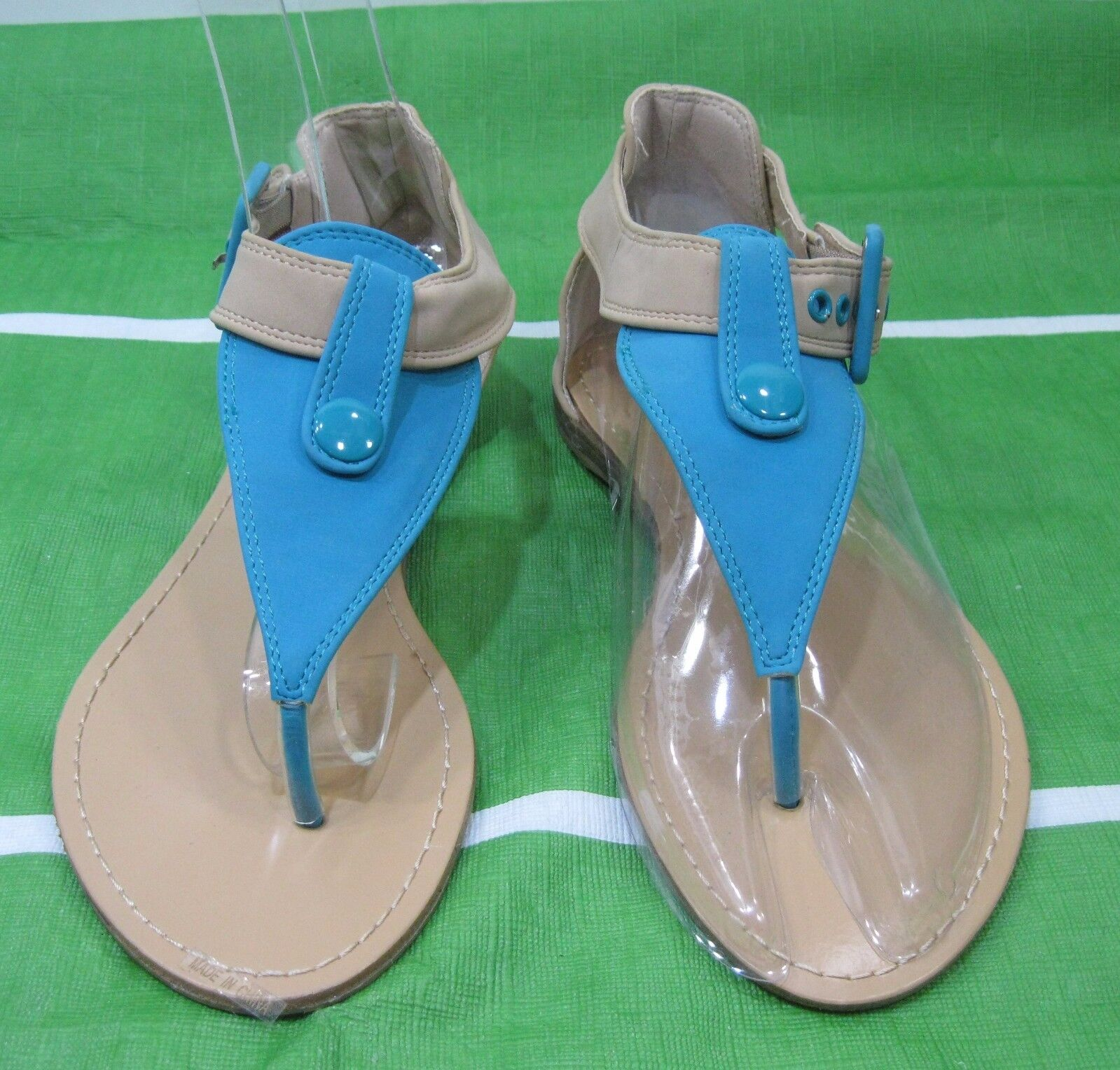 Summer Sexy Blue/Skintone Womens Shoes Flat Sexy Summer Sandals Size 6.5 f28da9
