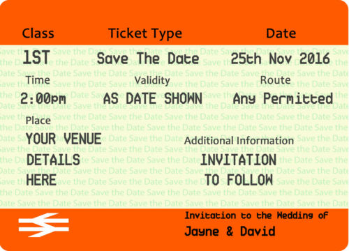 RAILWAY TICKET INVITATIONS Save-The-Date Pack of 20 FREE UK SHIPPING