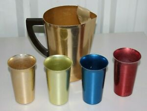 Vintage West Bend Metal Pitcher W/ 4 Colored Drinking Glasses - USA