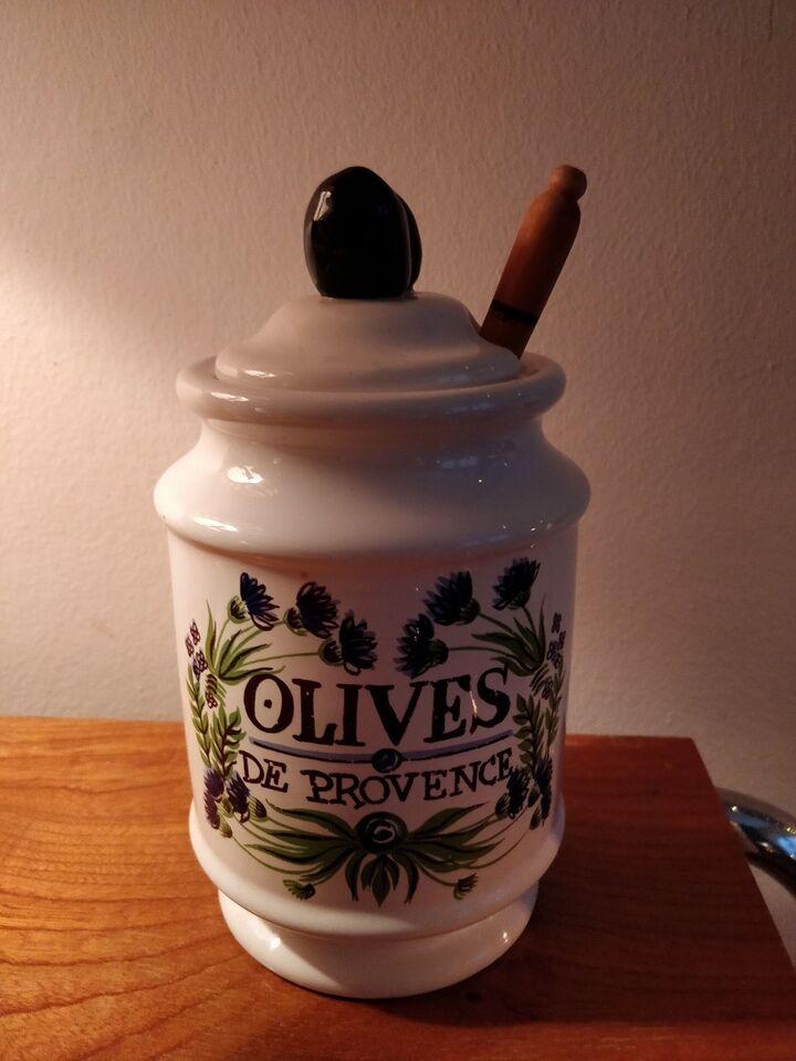 Porcelæn, Olivenkrukke med ske, Estello Flourado