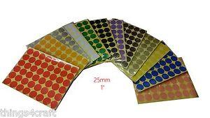 25mm 1 Pollice COLORATO DOT ADESIVI Rotondo Appiccicoso Adesivo Cerchi spot etichetta cartacea