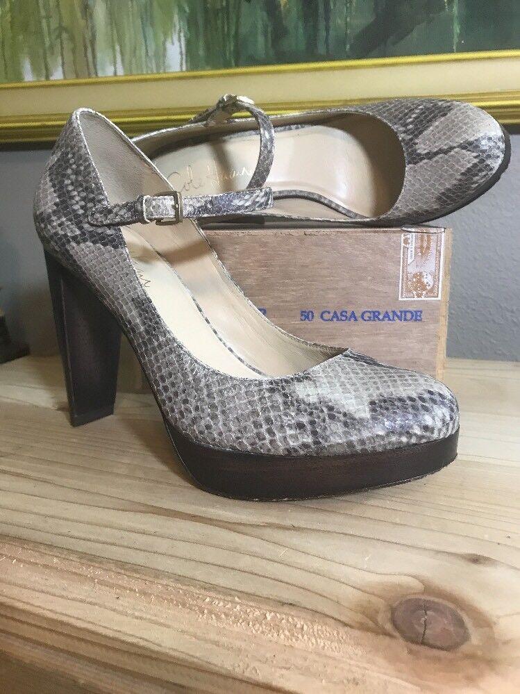 COLE HAAN AIR WOMEN'S SNAKESKIN Wooden Platform BUCKLE Heels shoes 6.5 B