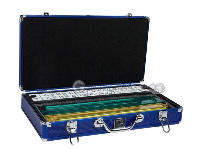 Bianca Swan Mah Jongg Set - bianca / blu Tiles, Modern Pushers, Aluminum Mahjong