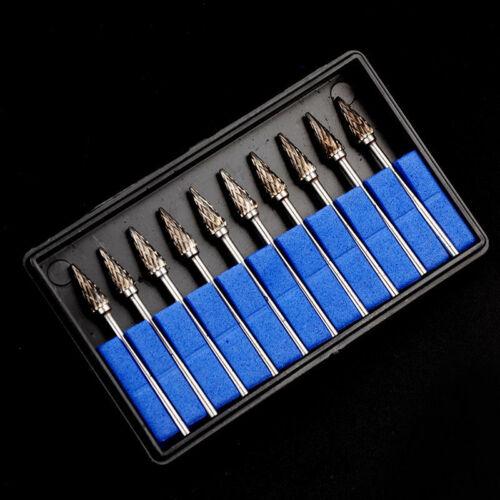 10 Pcs Tungsten Carbide Steel Burr Rotary Drills Cutter File Set Shank Polishing