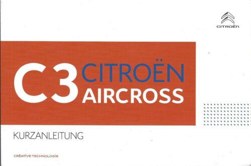 CITROEN c3 Aircross manuale di istruzioni 2017 guida RAPIDA manuale bordo libro BA