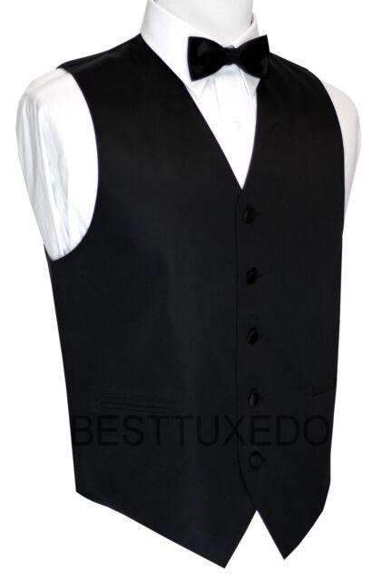 XS - 6XL. Italian Design. Black Satin Tuxedo Vest & Bow-Tie Set.