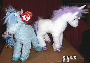 LOT OF2-HTF TY Beanie Baby-CHARMING (2005 HORSE) & FORTRESS (2007 UNICORN)-MWMT